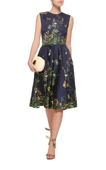 LENA HOSCHEK Pleated Cotton Blend-Satin Navy Floral Printed Dress