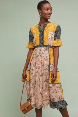 LET ME BE Mina Patchwork-Silk Midi Yellow Dress