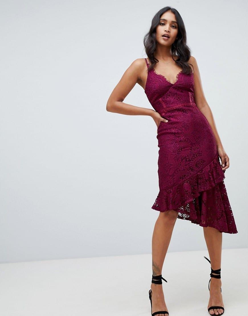 LIPSY Lace Asymmetric Hem Cami Bodycon Purple Dress