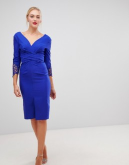 LITTLE MISTRESS Tall Wrap Front Lace Sleeve Detail Pencil Cobalt Dress