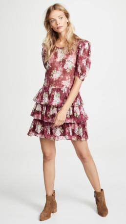 LOVESHACKFANCY Cata Saddle Red Dress