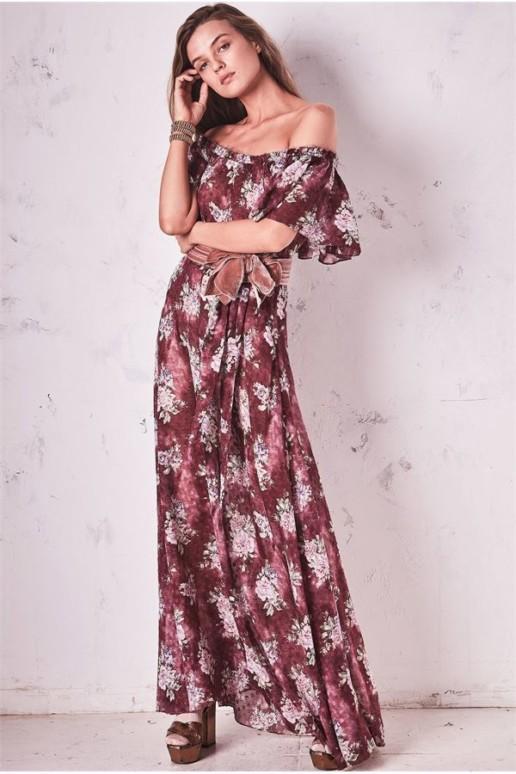 LOVESHACKFANCY Evelyn Purple / Floral Printed Dress