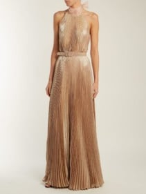 LUISA BECCARIA Pleated Halterneck Rose Gold Gown