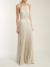 LUISA BECCARIA Pleated Halterneck Silver Gown