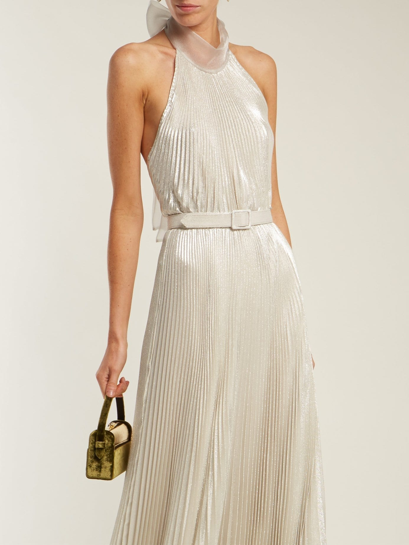 LUISA BECCARIA Pleated Halterneck Silver Gown - We Select Dresses