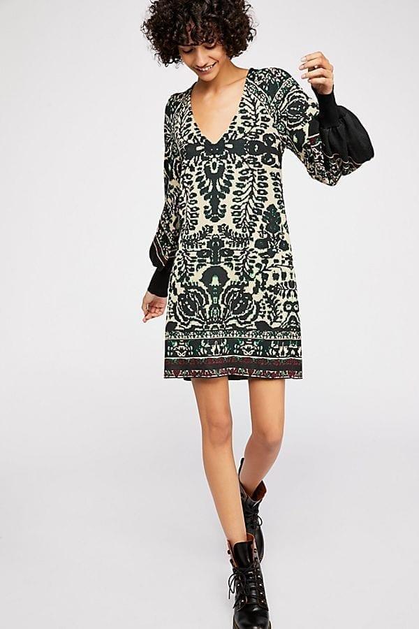 Lyrics Sweater Mini Camel Dress
