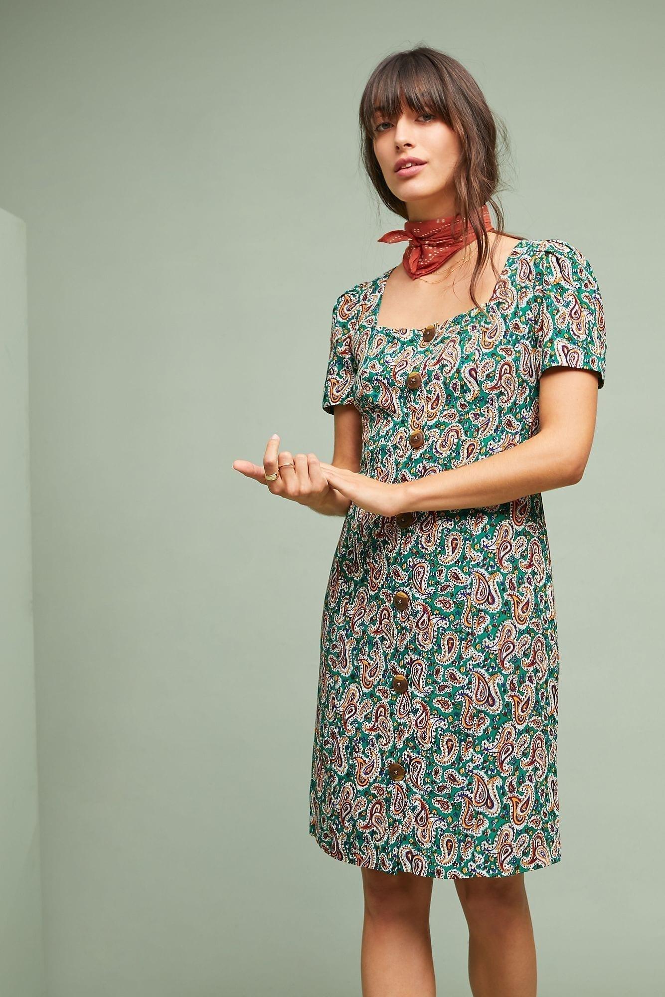 MAEVE Seventies Shift Green Dress