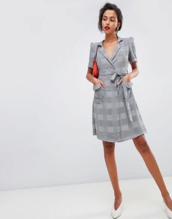 MANGO Wrap Front Check Grey Dress