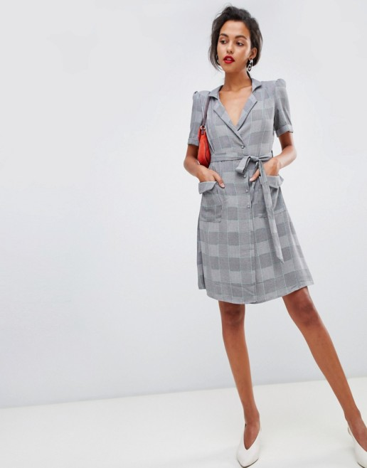 MANGO Wrap Front Check Grey Dress
