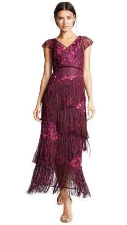 MARCHESA NOTTE Cap Sleeve Floral Embroidery Velvet Fringe Purple Gown
