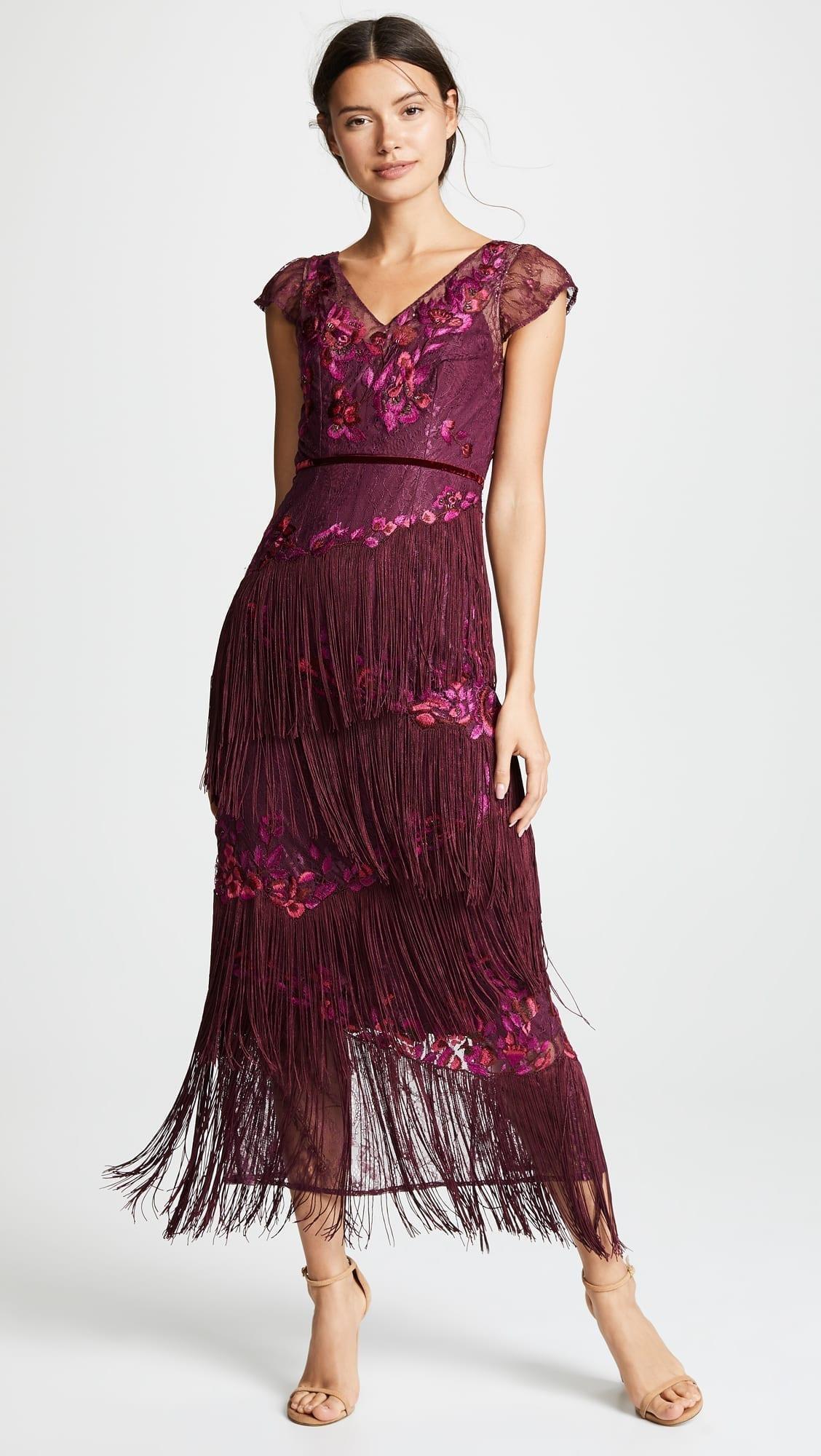 87bf5ed46e11 MARCHESA NOTTE Cap Sleeve Floral Embroidery Velvet Fringe Purple Gown