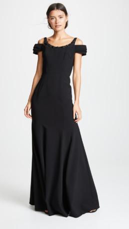 MARCHESA NOTTE Cold Shoulder Beaded Embellishment Stretch Crepe Black Gown