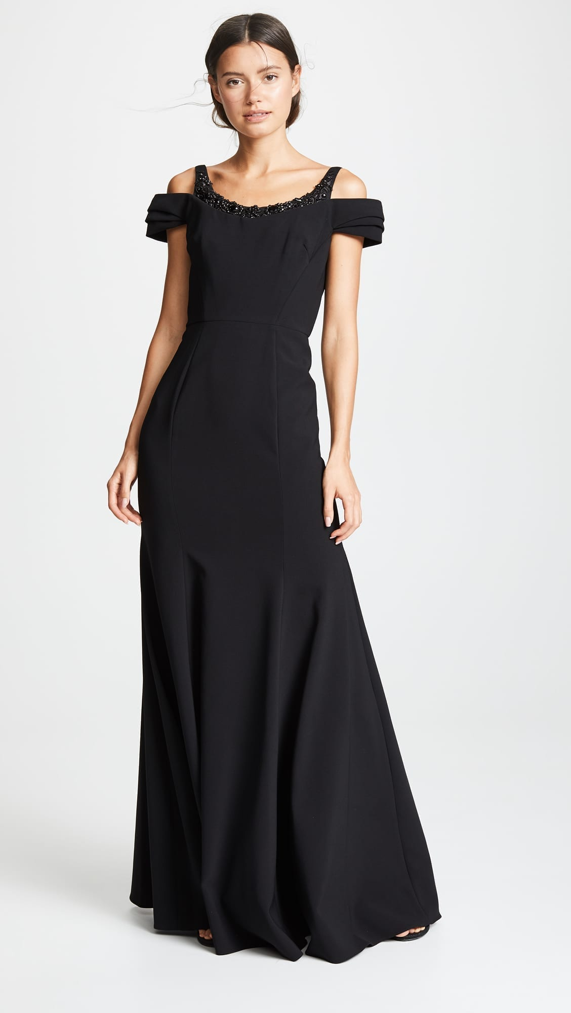 MARCHESA NOTTE Beaded Black Gown - We Select Dresses