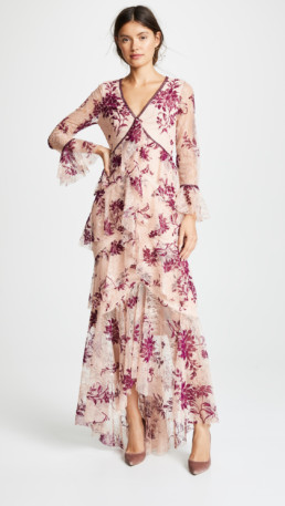 MARCHESA NOTTE Long Sleeve V Neck Flocked Lace Blush Gown