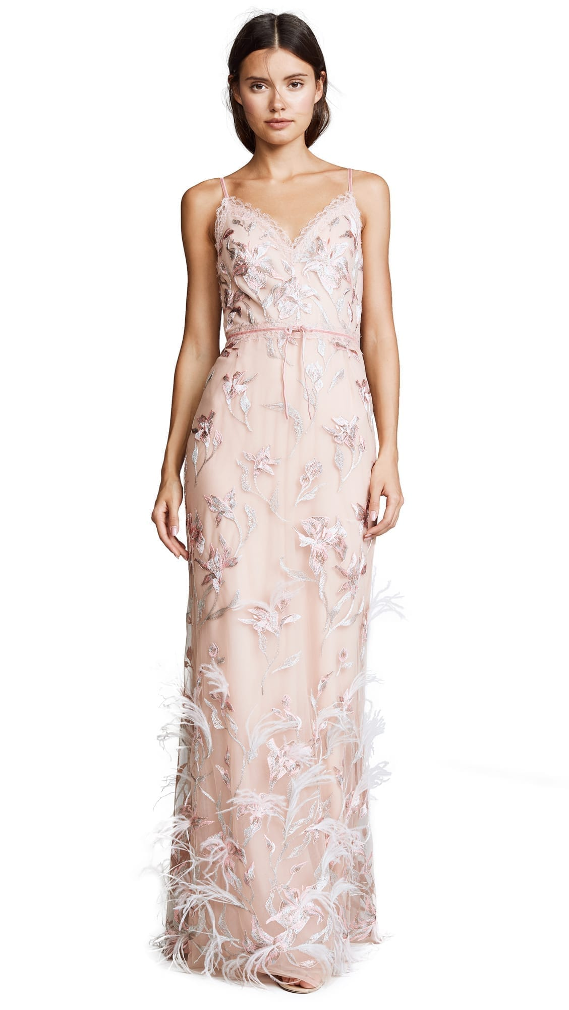44302741e858 MARCHESA NOTTE Sleeveless V Neck Feather Embroidered Blush Gown - We ...