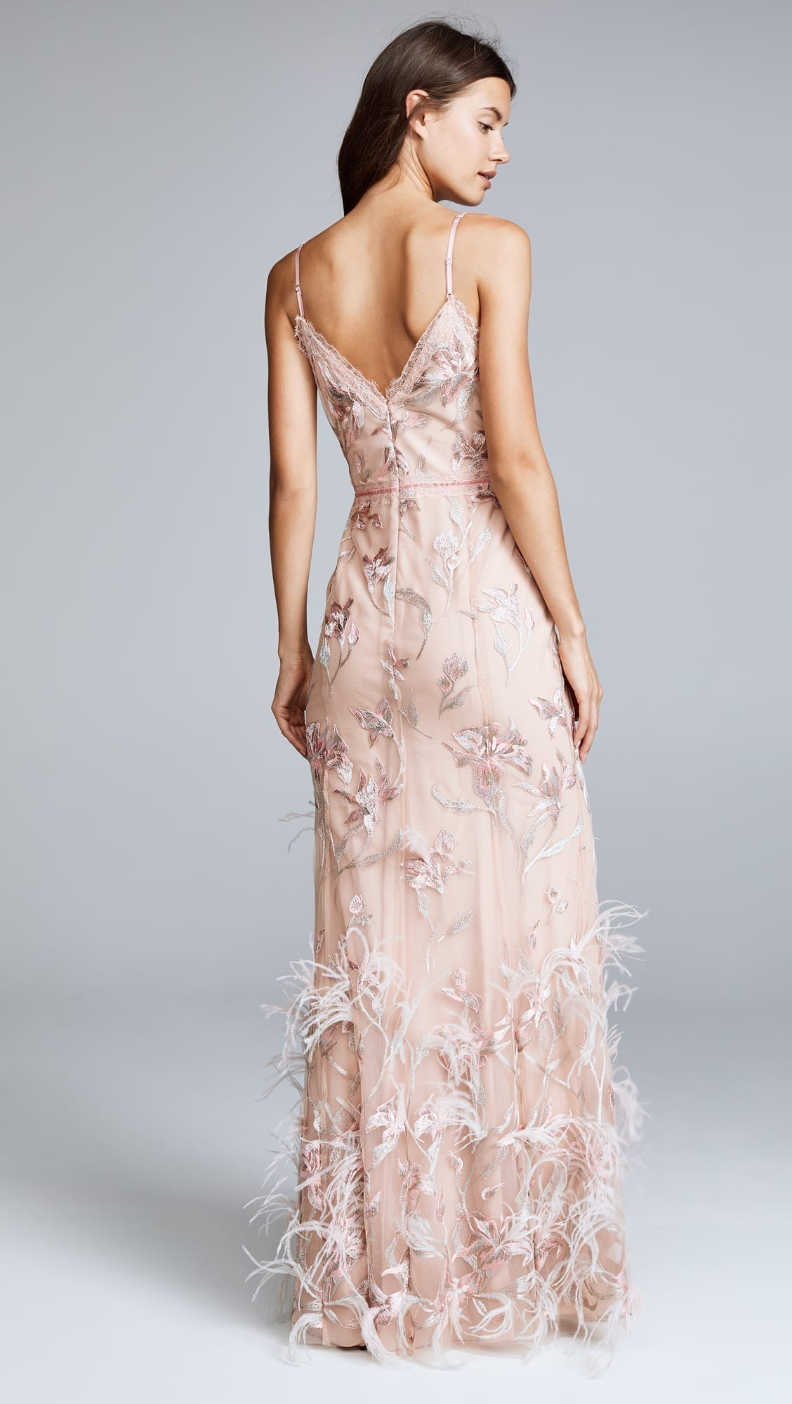 MARCHESA NOTTE Sleeveless V Neck Feather Embroidered Blush Gown - We ...