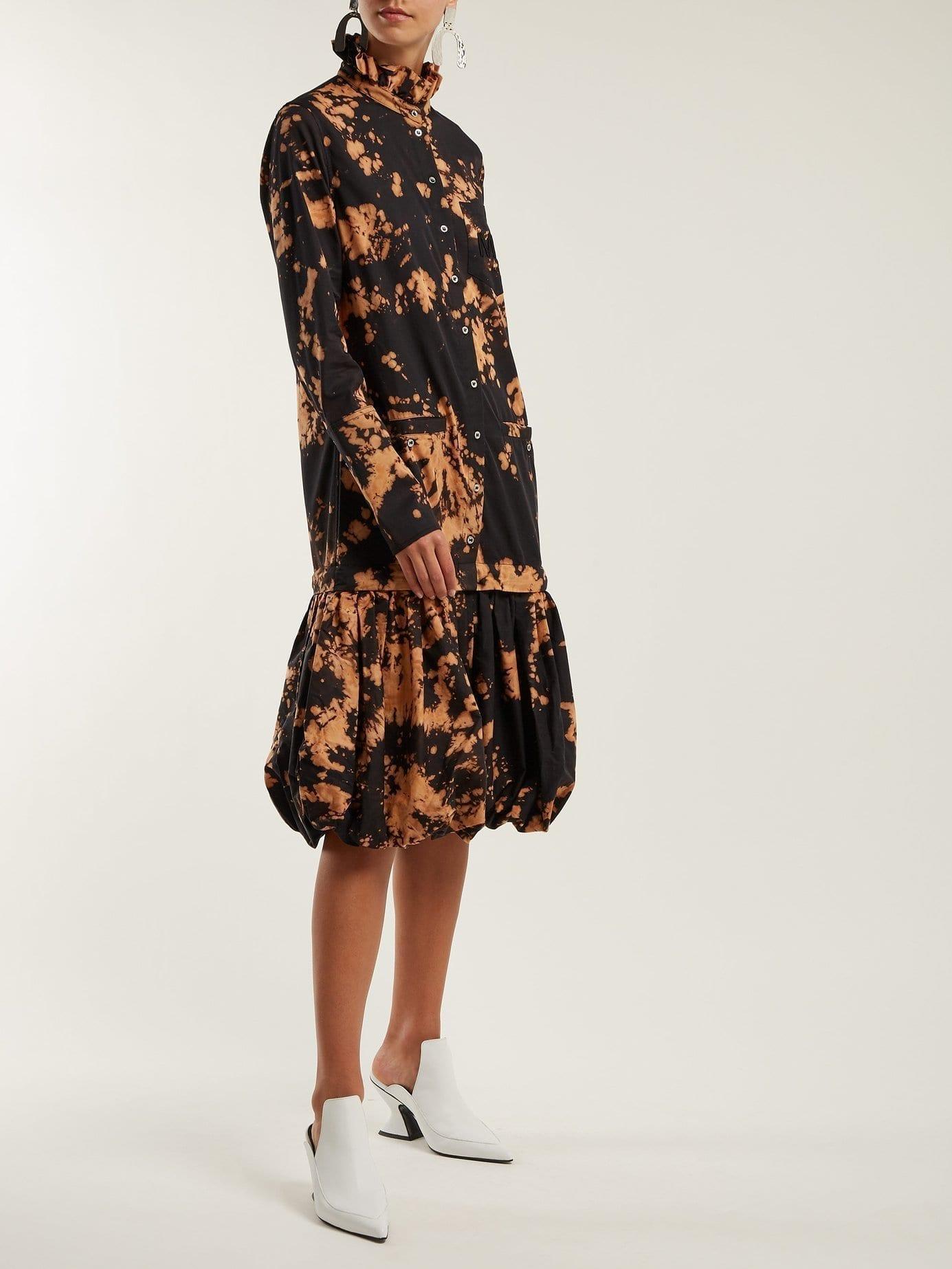 MARQUES'ALMEIDA Tie Dye Puff Hem Cotton Shirt Black Dress