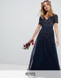 MAYA Petite V Neck Maxi Tulle Contrast Tonal Delicate Sequins Navy Dress