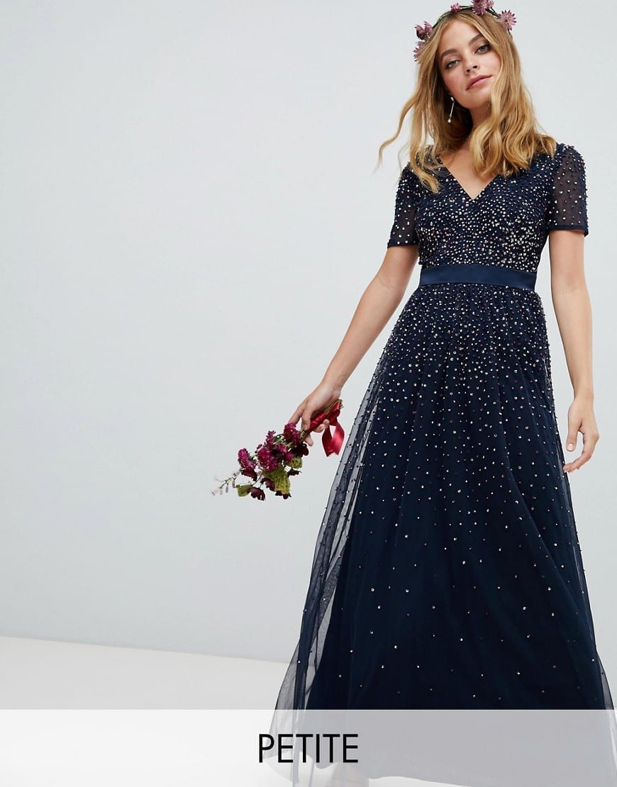 41a2db1ca7210 Maya Plus Long Sleeve Maxi Dress With Delicate Sequin And Tulle Skirt