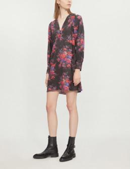MCQ ALEXANDER MCQUEEN Floral-Print Silk-Satin Darkest Black Dress