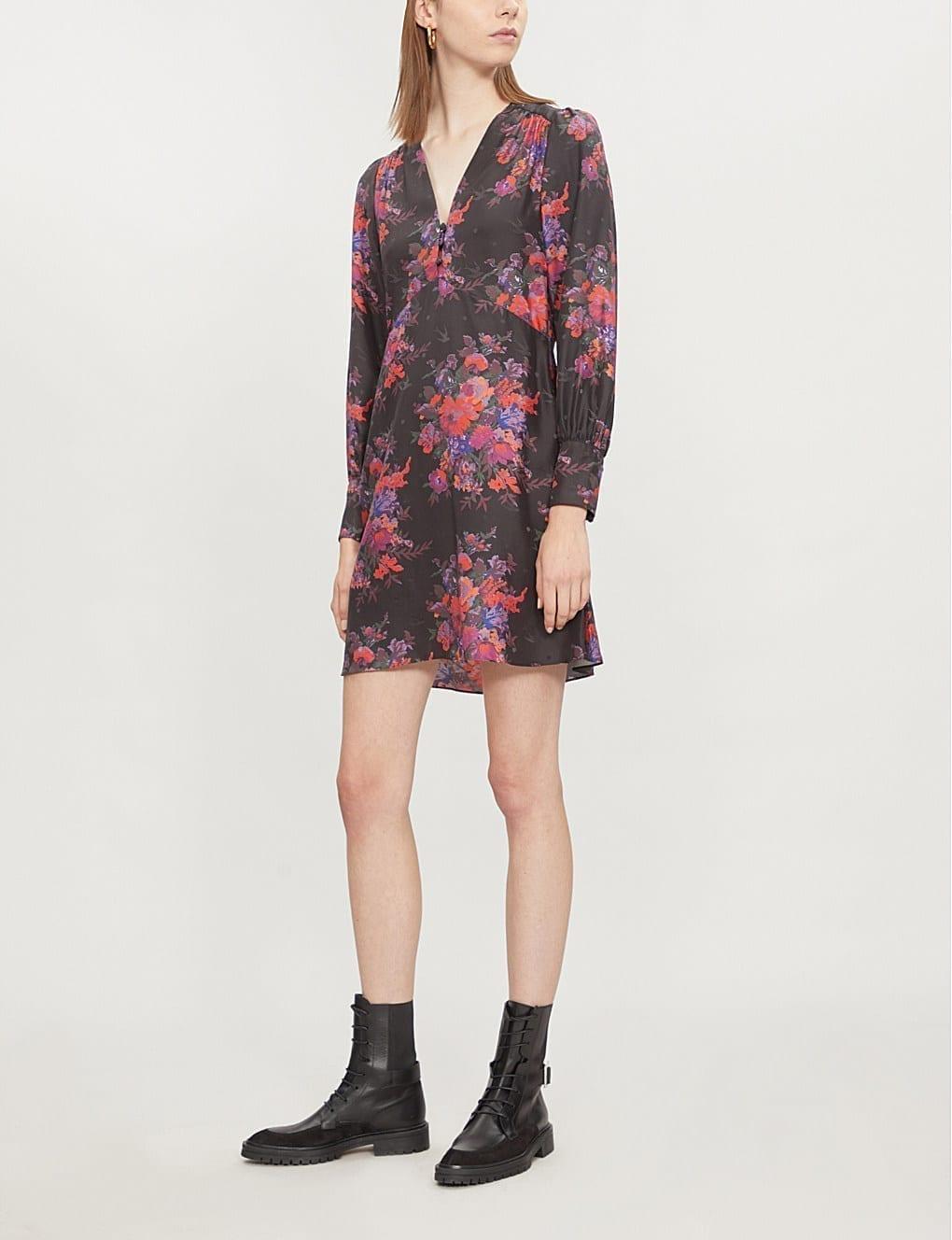 aeda3c965258a MCQ ALEXANDER MCQUEEN Floral Print Silk Satin Darkest Black Dress ...
