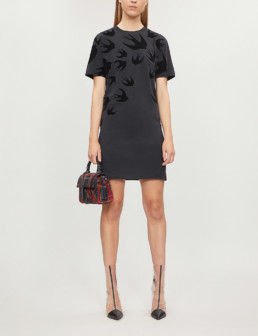 MCQ ALEXANDER MCQUEEN Swallow-Print Cotton-Jersey Darkest Black Dress_