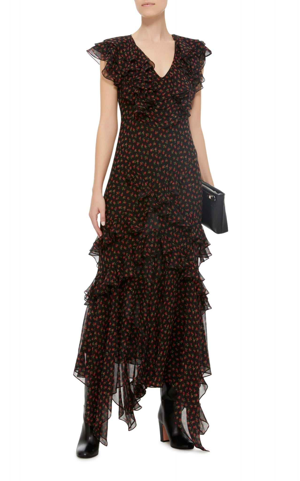 MICHAEL KORS COLLECTION Bias Ruffle Black / Floral Printed Dress