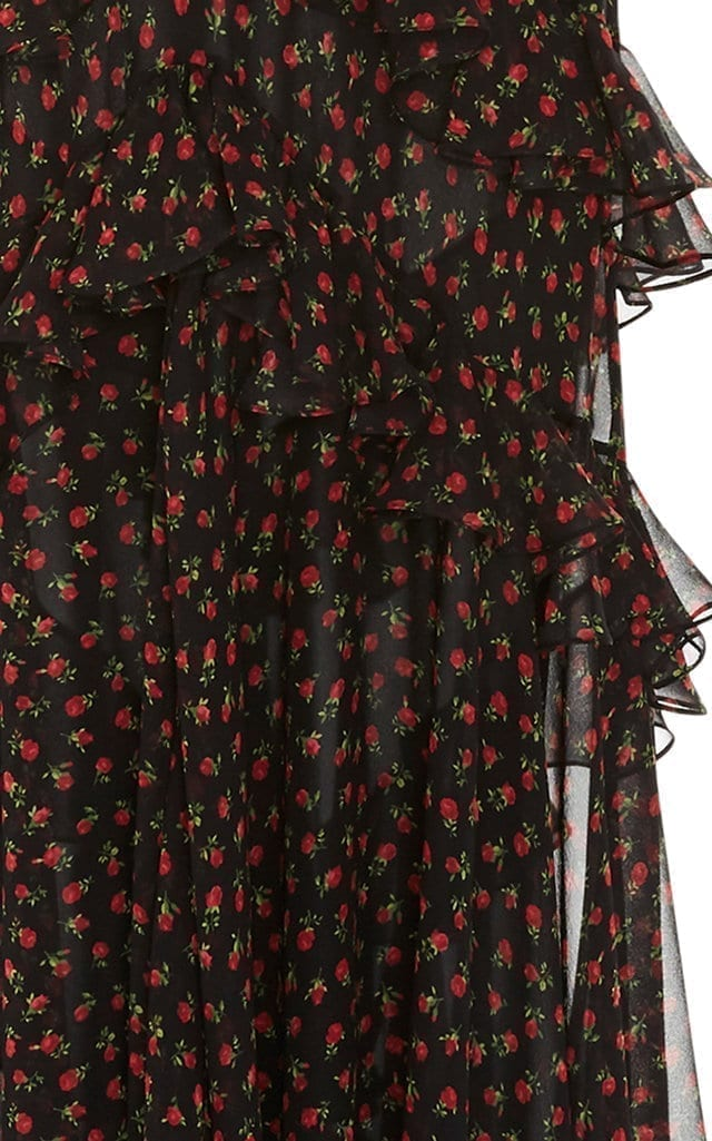 Michael Kors Collection Bias Ruffle Black Floral Printed
