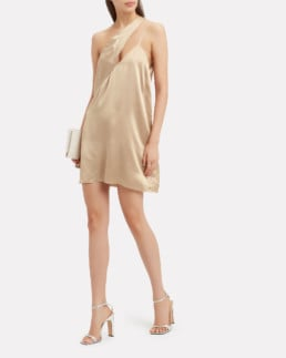 MICHELLE MASON One Shoulder Mini Gold Dress