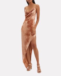MICHELLE MASON Velvet Asymmetric Beige Dress