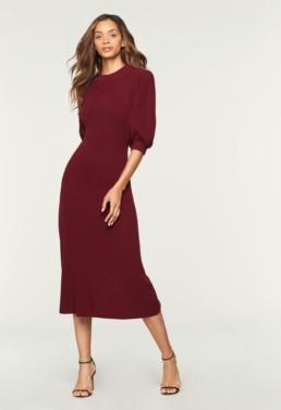 MILLY Cashmere Midi Wine Dress