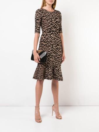 MILLY Leopard Print Brown Dress