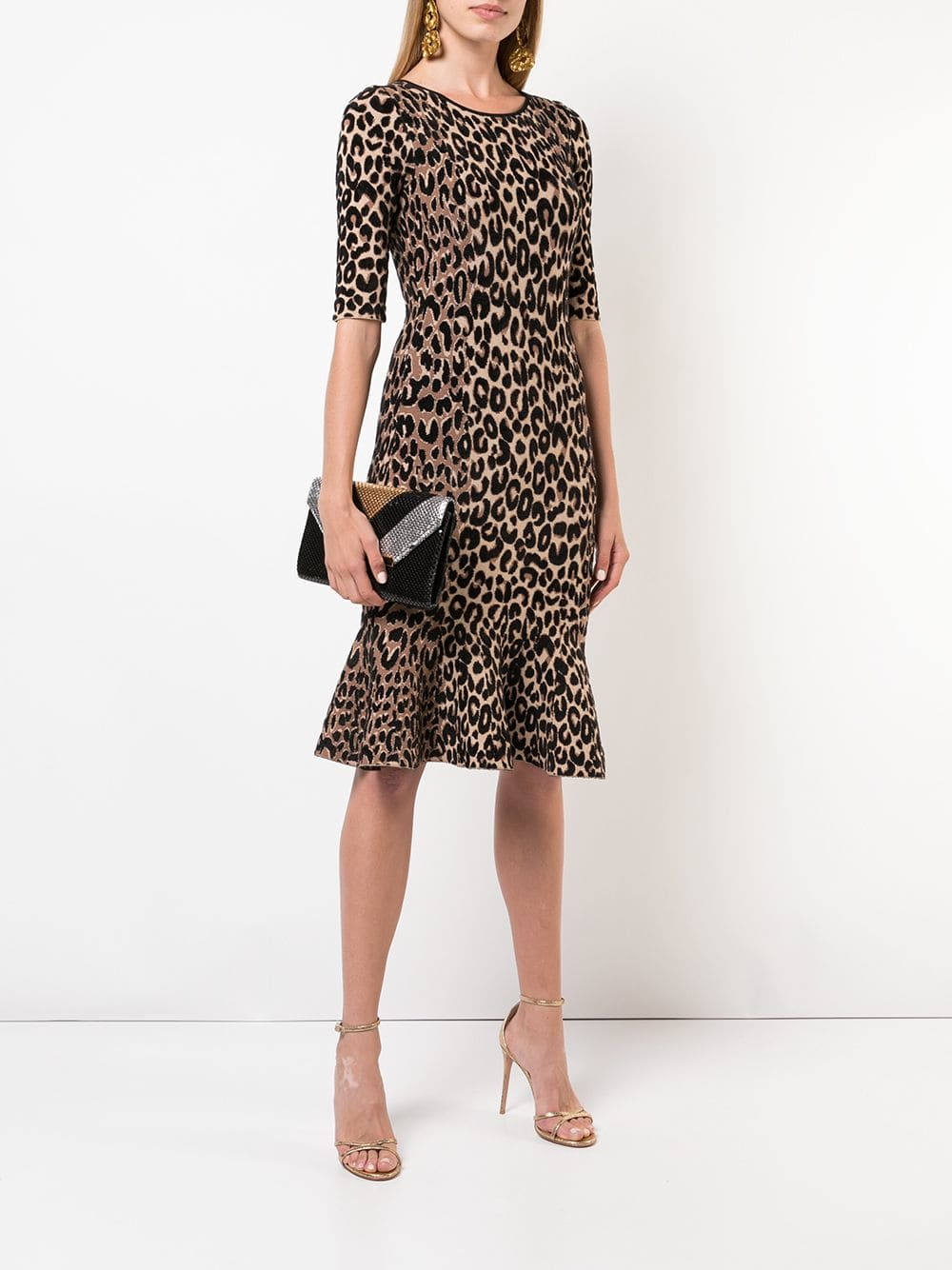 MILLY Leopard Print Brown Dress