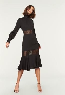 MILLY Python Lace Arianna Black Dress