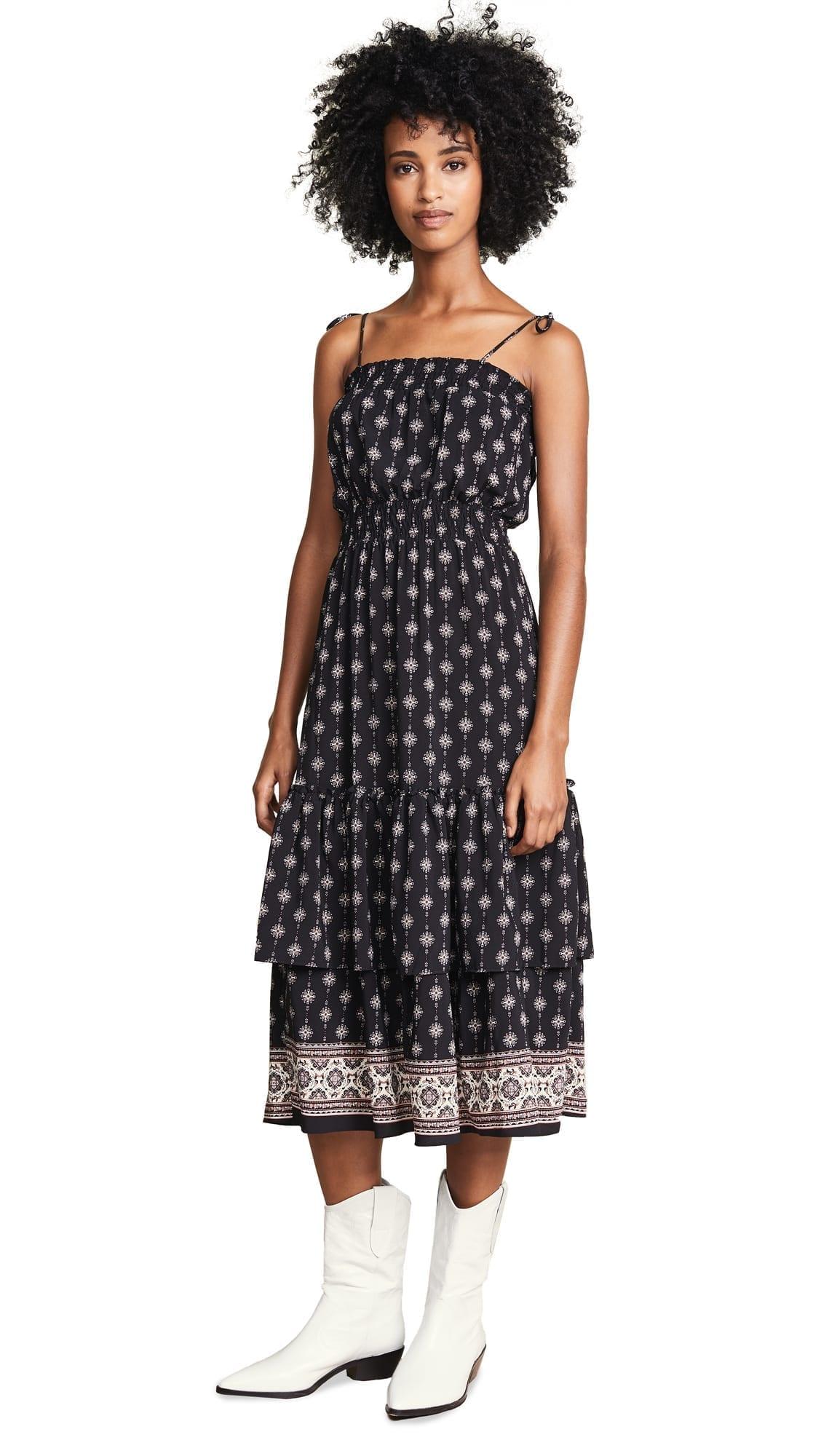 MISA Azalea Black / Floral Printed Dress