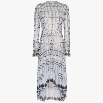 Navro Long Sleeved Feather Print Midi Grey Dress We Select Dresses