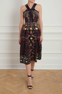 NEEDLE AND THREAD Patchwork Prom Graphite Dress