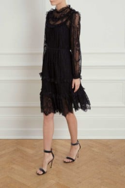 NEEDLE AND THREAD Scallop Frill Lace Black Dress