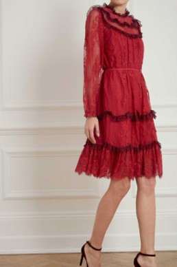 NEEDLE AND THREAD Scallop Frill Lace Dark Cherry Dress