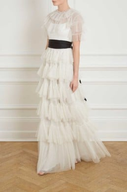 NEEDLE AND THREAD Scallop Tulle white Gown
