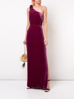 NICOLE MILLER Textured Asymmetric Purple Dress