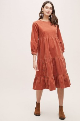 Oreley Tiered-Corduroy Dark Orange Dress