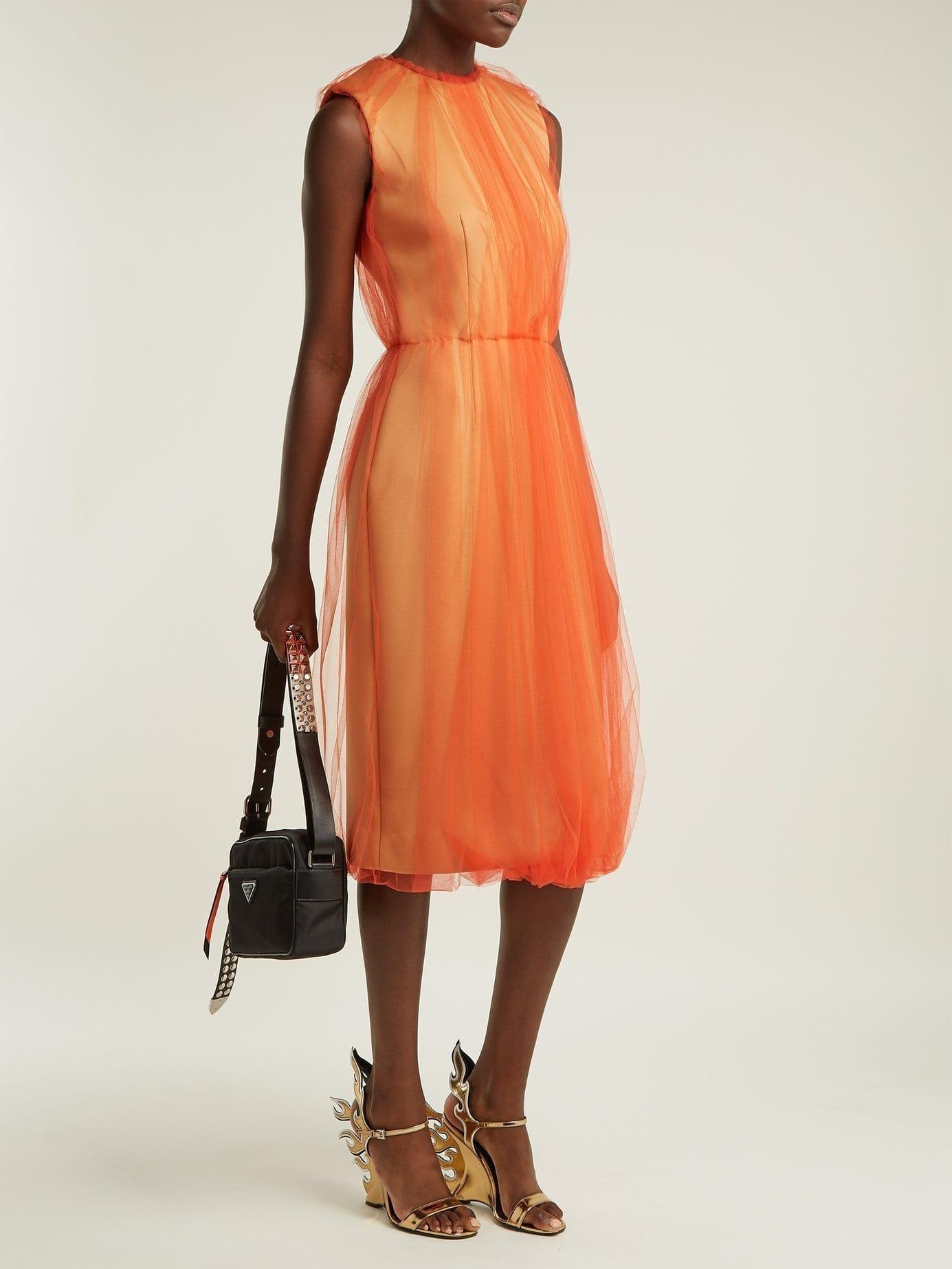 PRADA Jersey And Tulle Sleeveless Orange Dress