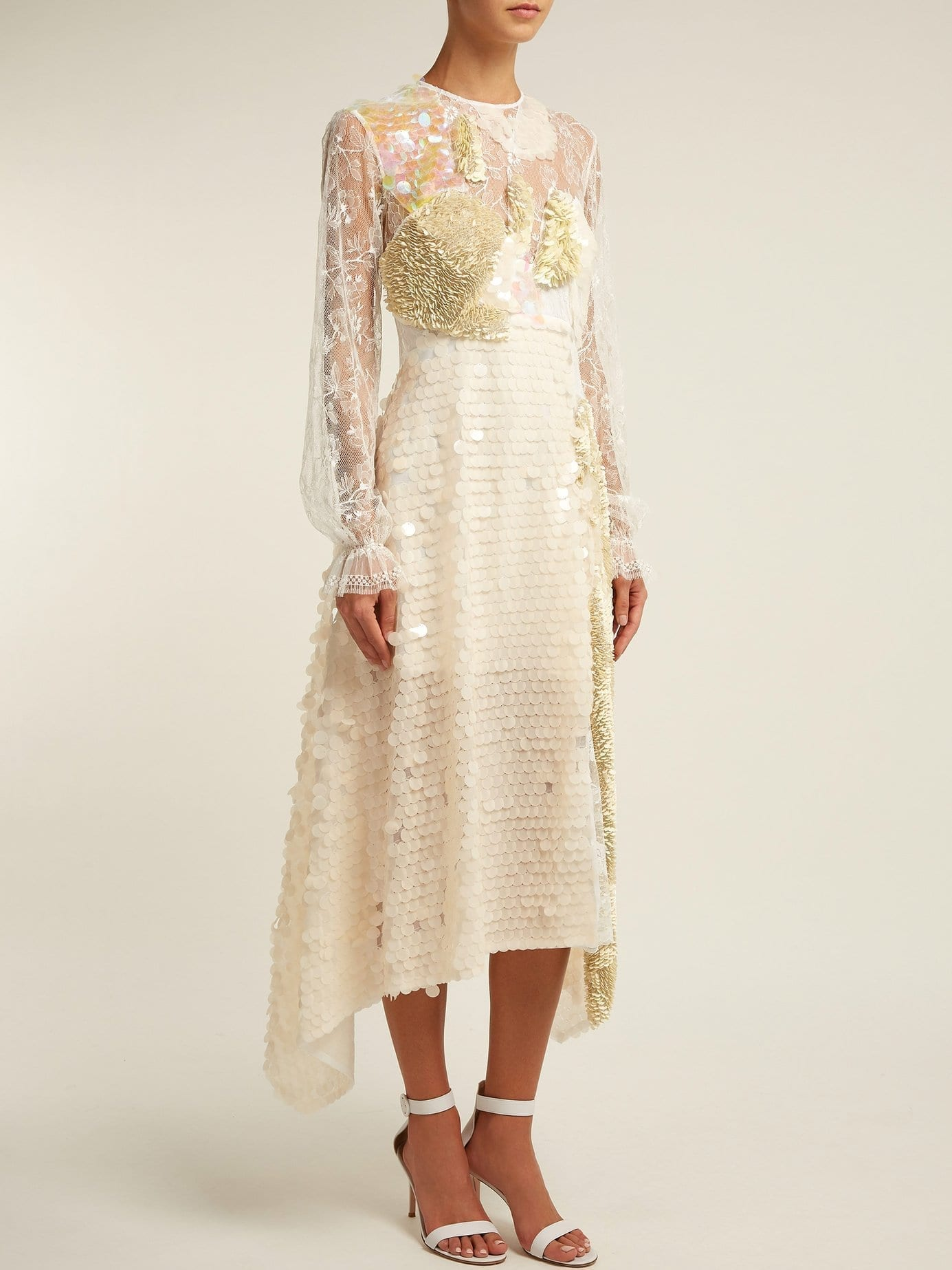 PREEN BY THORNTON BREGAZZI Cara Sequin-embellished Lace Ivory Dress