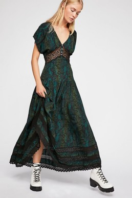 Prairie Flower Maxi Black Combo Dress