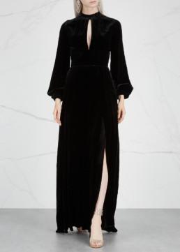 RAQUEL DINIZ Alma Silk Velvet Black Gown