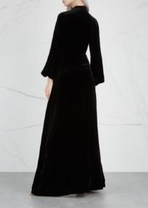 RAQUEL DINIZ Alma Silk Velvet Black Gown_2