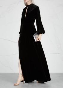 RAQUEL DINIZ Alma Silk Velvet Black Gown_3