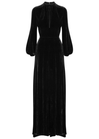RAQUEL DINIZ Alma Silk Velvet Black Gown_4