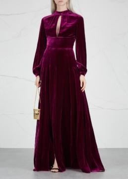 RAQUEL DINIZ Alma Silk Velvet Magenta Gown
